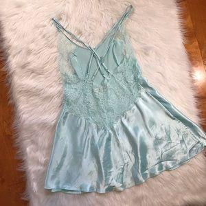 Victoria's Secret light blue lace silky slip dress